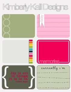 Free Bright Journaling Cards from Kimberly Kalil Designs