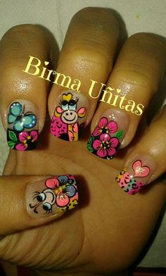 Uñas Decoradas  Birma Uñitas Butterfly Nail Art, French Tip Nails, Long Acrylic Nails, Toe Nails, Summer Nails, Pretty Nails, Pedicure, Nail Designs, Hair Beauty