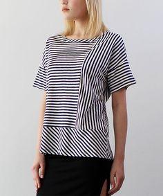 Navy & Ivory Asymmetric-Stripe Dolman Top Dolman Top, Blouse Styles, Ivory, Navy, Tops, Women, Products, Fashion, Hale Navy