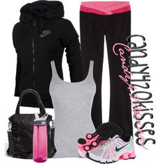 Black workout outfit with pink high lights. Nike track jacket, pink and white Nike sneakers, pink water bottle and pink and black yoga pants make a super cute and comfy gym outfit! Nike Workout Gear, Workout Attire, Workout Wear, Yoga Workouts, Workout Tanks, Nike Gear, Pink Workout, Workout Style, Womens Workout Outfits