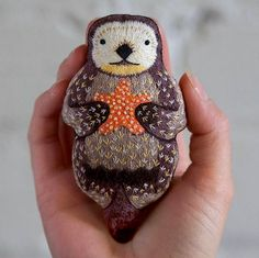 Otters are one of the cutest animals on the planet and I can't believe it took so long to think about making one as a doll kit! Dmc Embroidery Floss, Beaded Embroidery, Cross Stitch Embroidery, Embroidery Patterns, Cross Stitch Patterns, Impression Textile, Textiles, Soft Sculpture, Otters