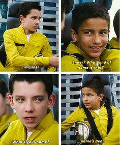 I get why they put Bean and Ender on the same launch. They only had limited time to develop these characters. But at the same time it completely discredited Bean's character. He's smarter than Ender, even, yet you'll never get to see that because they were on the same launch. Great scene, even still.
