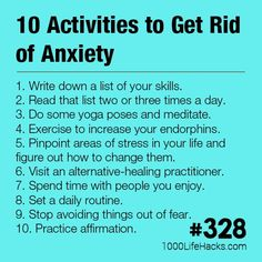 Hey i do mist of these!~ The post 10 Activities to Get Rid of Anxiety appeared first on 1000 Life Hacks. Anxiety Coping Skills, Anxiety Tips, Anxiety Help, Stress And Anxiety, Anxiety Facts, Get Rid Of Anxiety, Fitness Motivation, Fitness Diet, Life Hacks