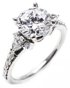 OGI Pear-Shaped Side Stones Engagement Ring