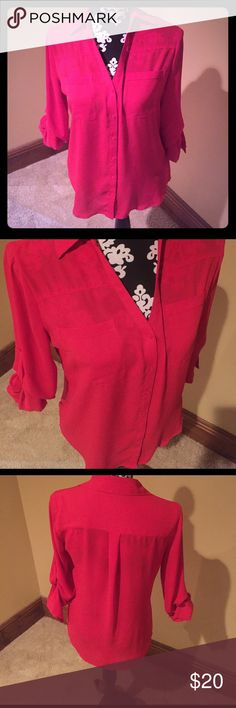 RED BLOUSE Red button up collared blouse roll up sleeves to front breast pockets Express Tops Blouses