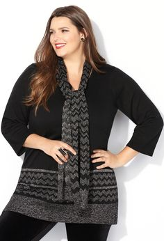 Lurex Border Sweater with Scarf-Plus Size Sweater-Avenue