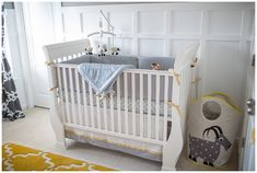Project Nursery - Gray and Yellow Preppy Nursery Crib