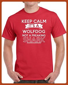Wolfdog Keep Calm It's a Dog Not a Shark Funny Pet Dog Breed Unisex T-shirt M Red - Animal shirts (*Partner-Link)