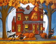 Spook House - I paint a lot of pieces with Halloween themes and the spooky houses are a favorite. Alice Halloween, Halloween House, Holidays Halloween, Vintage Halloween, Happy Halloween, Halloween Stuff, Halloween Ideas, Halloween Queen, Haunted Halloween