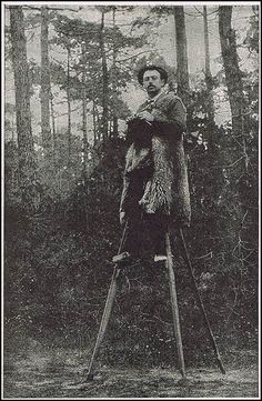 """In 1891 Sylvain Dornon, a Frenchman, walked from Paris to Moscow in 58 days."" On stilts!    ""According to the Scientific American, the Mr. Dornon was from a region of France called Landes, which was desribed as an extremely poor region inhabited mostly by shepherds. The roads were non-existent and the ground was marshy and uneven, so the people of Landes developed a unique mode of transportation to allow them to get over the rough ground: they walked on stilts everywhere!"" He's knitting!"