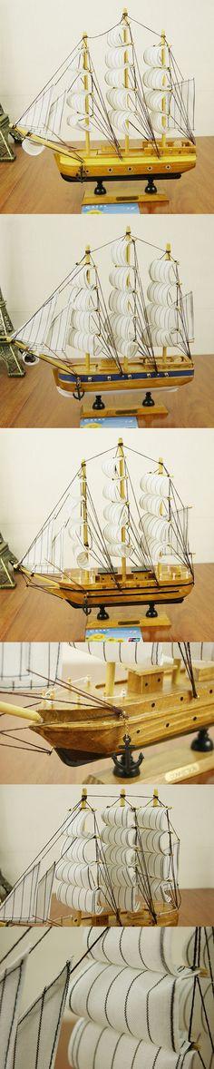 30cm Mediterranean Style Wooden Net Ship Sailing Ship Furnishing Articles Handmade Nautical Home Decor Wood Craft $25