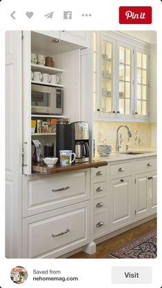 Microwave + coffee maker Kitchen Storage Solutions, Diy Kitchen Storage, Kitchen Redo, Kitchen Pantry, New Kitchen, Kitchen Ideas, Kitchen Counters, Pantry Ideas, Kitchen Designs