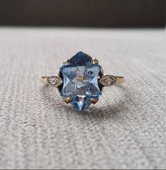 Antique Art Deco Engagement Ring Estate Blue Topaz by PenelliBelle