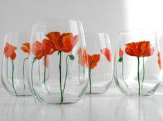 Orange Poppies Stemless Wine Glasses  Set of by MaryElizabethArts, $40.00