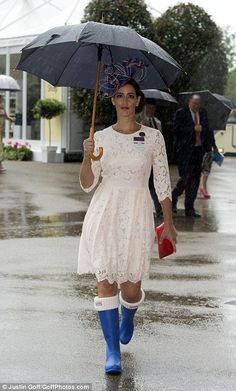 One female racegoer offsets her lace dress with a pair of bright blue wellies. Royal Ascot Day One - 14 June Aintree Races, Rainy Outfit, Brave, Royal Ascot Races, Lace Dress, White Dress, 14 June, Chester