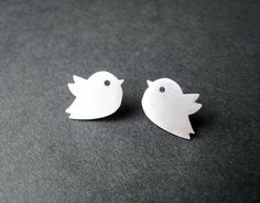 Love bird silver earring studs