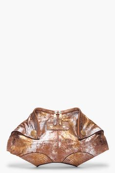 Alexander McQueen gold crackle clutch for women | SSENSE