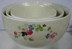 Vintage 1940's RARE Unlisted Desert Rose Pattern 3 Piece Bowl Set ...