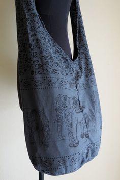market bags Crossbody messenger bag Thai cotton elephant print by shopthailand, $8.99