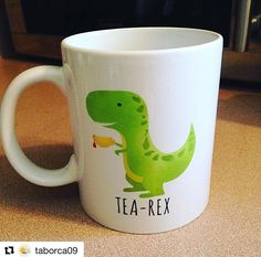 """Here's @taborca09 with her """"Tea-Rex"""" Mug! ☕️ For all of you Tea-Rexes out there, check out my blog post - Wish List: Tea Lovers at alittleleafy.com! #alittleleafy #tearex #teaaddict #teaparty #tealover #teaaddicts #teaaddiction #tealovers #tealove #teacups #tea #dino #dinosaur #tearex"""