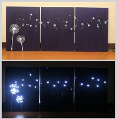 For a funky, offbeat way to dress up your walls or any room create a three-panel, light up piece of artwork that will make you look like an accomplished artist. Purchase three stretched and pre-made canvases. The canvas size is up to you...