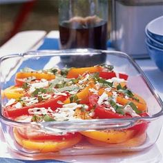 Tomato, Basil, and Fresh Mozzarella Salad. In this classic salad, infused vegetable broth provides the base for a basil sauce that can stand in for the traditional pesto or. Mozzarella Salad, Fresh Mozzarella, Fresh Basil Recipes, Classic Salad, Cooking Recipes, Healthy Recipes, Healthy Snacks, Herb Recipes, Seafood Recipes