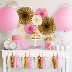 The complete ballerina party in a box is here! These pink and gold party decorations can help you build the perfect pink and gold baby shower too. Bash Kits has combined a complete collection of ballerina birthday party ideas into a single party theme package.  This listing is NOT a batch of printable files that you will need to print and cutout by hand. It is a complete collection of physical items that will make your ballerina party theme a huge hit! With a pink and gold party theme, these…
