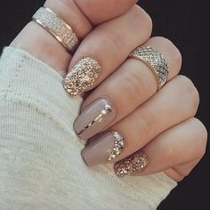 49 best glitter nail art ideas for glam looks - glam nails, glitter nail art . - 49 Best Glitter Nail Art Ideas for Glam Looks – Glam Nails, Glitter Nail Art Designs, Glitter Nai - Shiny Nails, New Year's Nails, Glam Nails, Beauty Nails, Red And Gold Nails, Gold Sparkle Nails, Purple Nail, Acurlic Nails, Peach Nail Art