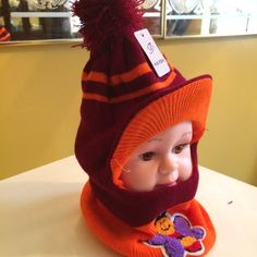"""Kids Mask Winter hat/hood/mask Bumble Bee....Pom-pom kids winter hat .......burgundy & orange.    SORRY NO TRADE❌❌...  Price is negotiable within reason.  Make me a reasonable offer via """"OFFER"""" the button. Thank you.  Accessories Hats"""