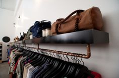 Pipe clothing rack - copper or steel with wood shelves :: Settlement Goods & Design Floating Shelving Racks by DumpTruck Design at CustomMade.com