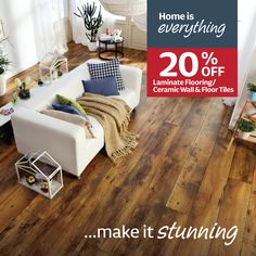 Home is everything..make it stunning with 20% laminate flooring & floor tiles. Tile Floor Diy, Wall And Floor Tiles, Decorating Coffee Tables, Laminate Flooring, Building Materials, Living Room Decor, Diy Home Decor, Table Decorations, Celtic Fonts