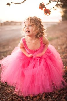 "Hot pink tutu dress, custom made to order crochet corset flower girl tutu dress, ""Lily Girl"""