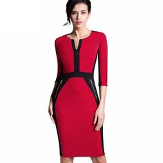 d438c63f0c8 Dress Business Formal Work to Wear vestidos neck V Patchwork fashion Size  Plus Zipper Women Office