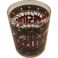Houze Season's Greetings Christmas Stained Glass Bar Glass Tumbler Glasses Vintage Gold Rimmed