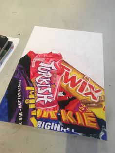 Make a collage with chocolate/candy wrappers gcse art sketchbook, sketchbooks, art alevel Inspirational Artwork, Collage, Sweets Art, A Level Art Sketchbook, Sketchbook Layout, Sketchbook Ideas, Amazing Animals, Art Alevel, Observational Drawing
