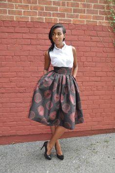 African Print Skirt The Madison Midi Skirt by CHENBURKETTNY African fashion styles, African clothing, Nigerian style, Ghanaian fashion, African women dresses, African prints, African shoes, Nigerian fashion, Ankara, Kitenge, Aso okè, Kenté, brocade etc ~DK