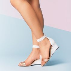 Wedge Sandal | WHITE PEBBLE LEATHER by Shoes of Prey
