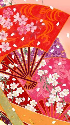 Japanese culture wallpaper. Painting, drawing, japan, fan, red, sakura, iPhone, Android, wallpaper, sazum 2017 background.