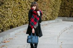 outfit // crucified again - animal arithmetic  YOINS longline duster coat // Parfois metal sunglasses // ZARA two-sided tartan scarf // ZARA blue cross body bag // POUSTOVIT for Braska black leather boots - See more at: http://www.animalarithmeticblog.com/2015/10/outfit-crucified-again.html
