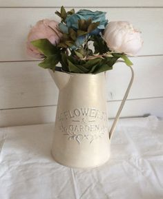 Zinc metal jug pitcher vase for flowers hand painted VTG shabby chic