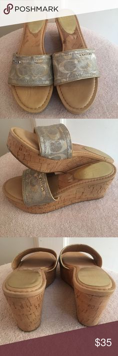 Coach Cork Wedges Coach silver & gold cork wedges with metal Coach logo. Almost new condition! Coach Shoes Wedges