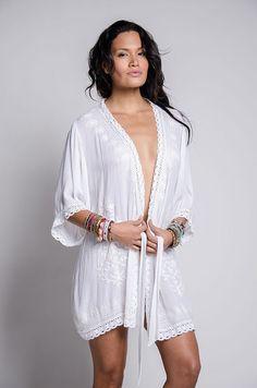 89682763852e Kimono Robe with Embroidery & Eyelet Trim with Belt. Spa Robe. Swim Cover up.  Beach Wrap. Boho Chic Resort Wear. Bohemian Top