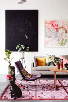 """Living area A detailed painting by Luisa Rossitto is particularly inspiring.""""Her control of watercolour as a..."""