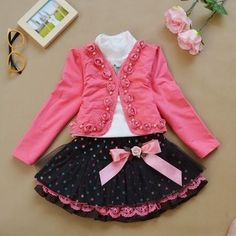 Kids Girls Clothing Set Long Sleeve Blouse + Dress Cotton Baby Girls Suits Set Fashion Source by kidshopedia Blouses Dresses Kids Girl, Kids Outfits Girls, Girl Outfits, Kids Girls, Baby Girls, Toddler Girls, Dressy Tops, Baby Girl Winter, Kind Mode