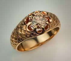 Old European Cut Fancy Color Diamond Men's Ring - Antique Jewelry   Vintage Rings   Faberge Eggs