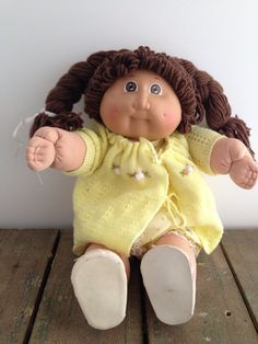 Vintage 1980s Cabbage Patch Kids Brown Hair and by ThePinkRoom