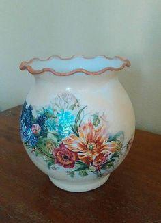 Decoupage Glass Vase Hand painted Glass VaseMini vaseFlower