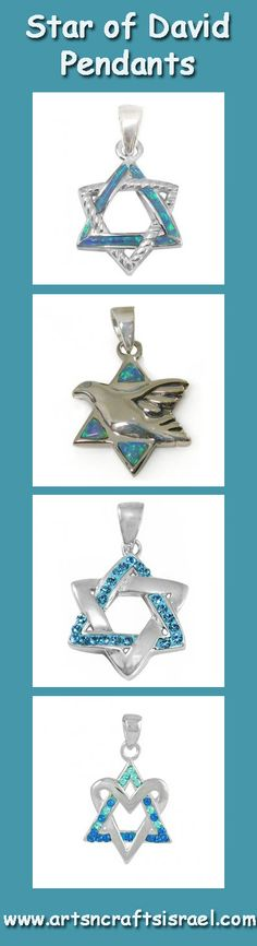 NEW - Beautiful Silver Star of David Pendants www.artsncraftsisrael.com