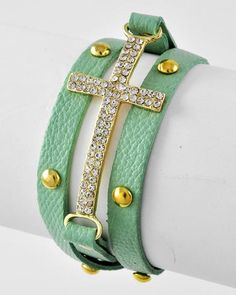 Turquoise Cross Wrap  $24.75  #SHOPBELLAC #wrap #bracelet #gold #Turquoise #cross #jewelry