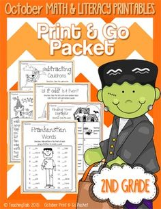 This Print and Go Packet for October or Halloween has many activities and printables that follow Common Core Standards and lasts the entire month. The sheets are a great addition to any curriculum for centers, morning work, or students who get done early.  The packet is designed for 2nd grade but can also be used for high 1st graders or struggling 3rd graders.  There is no preparation, lamination or special printing necessary for any of these sheets. Just print them out and use them for…